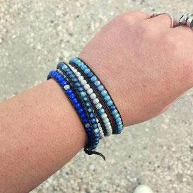 AZUR - Bracelet cuir et perles bleu