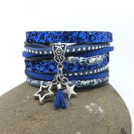 VEGA- Bracelet manchette ETOILES et pompon, bleu, deux tours