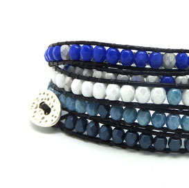 AZUR -Bbracelet perles et cuir fait main