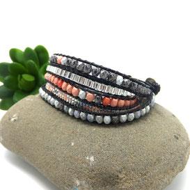 ROMEO - Bracelet manchette cuir wrap et perles corail et gris