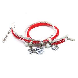 Pyla- bracelet breloques corail et blanc