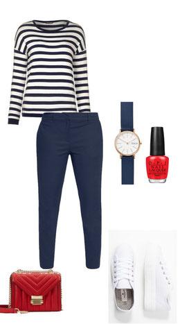 Hose blau Tom Tailor; Langarmshirt Street One; Sneaker Tom Tailor ; Uhr Skagen; Nagellack rot OPI; Tasche rot Michael Kors