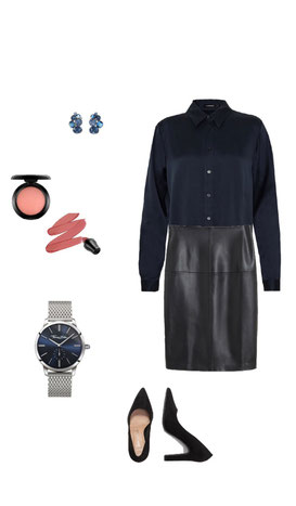 Bluse blau J.Lindberg ; Rock schwarz Mango; Pumps schwarz new look; Uhr Thomas Sabo;