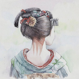 和風イラスト「すずかぜ」舞妓、水彩画・福井良佑