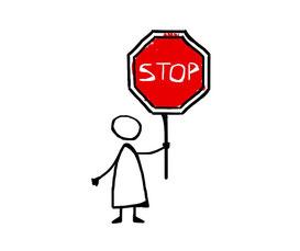 Strichmännchen hält Stopp-SChild