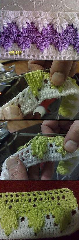 Вязаный край  красивый вязаный край узор вязание , вязаный фестон,  вязаная кромка, вязаная рюша,