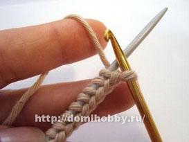 Набор петель косичкой., вязание,  набор петель