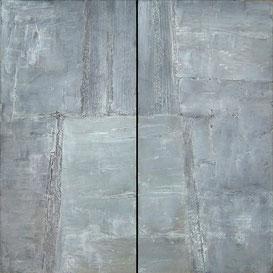 Miroir (diptyque), peinture d'Annie Baratz artiste peintre plasticienne