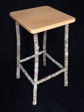 Jacaranda & soap tree saplings stool, 66cm high, seat 33cm x 33cm, oil & wax finish, $250 each. SOLD