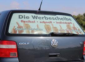 Die passende Werbescheibe fuer Ihr Fahrzeug mit Ihrem individuellen Motiv im Digitaldruck gedruckt