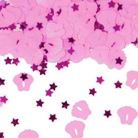 Tafelconfetti voetjes en sterretjes roze € 1,75