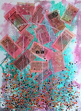 Money for Nothing 2017 (Acryl Mischtechnik, Marmormehl, Beize, Pigmente, Millionen, Milliarden, Konfetti) 60x80x4 ...nicht mehr verfügbar