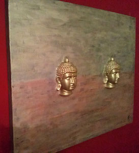 The Silver Buddhas - Series 2 2016 (Acryl Gips Modellierung) 100x80x4