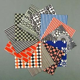 Origami Papier Set - verschiedene Katazome Blätter 15x15 cm