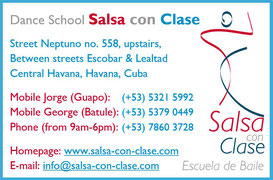 Business card dance school Salsa con Clase