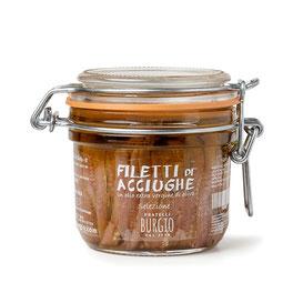 Filetes de anchoas en aceite de oliva virgen extra en bote de 230gr (Burgio-Sicilia) 16,00€