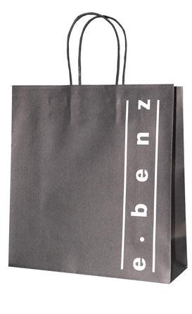 Papiertragetaschen Modell B mit Randumschlag und gedrehter Papierkordel in schwarz, bedruckt ab 1.000 Stück erhältlich