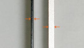 旧筐体亜鉛鋼板と新アルミ筐体の厚さ比較