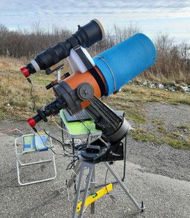 Celestron 8, Sigma 150/600 sport, caméras ZWO 174MM & 385MC. Setup pour le transit de mercure du 11-11-2019