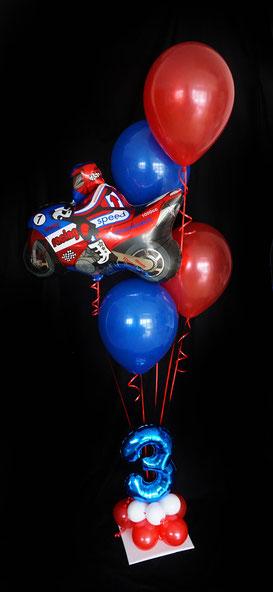Motorrad Fan Luftballon Ballon Heliumballon Bouquet Strauß Geburtstag Junge Zahl Geburtstagszahl