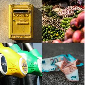 boîte aux lettres, marché, station d'essence et distributeur de billets autour des gîtes de l'auberge entre causses et cévennes