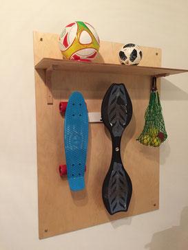 Wandhalterung Wandmontage Skateboard Waveboard diagonal horizontal vertikal Halterung wall mount LED Beleuchtung beleuchtet