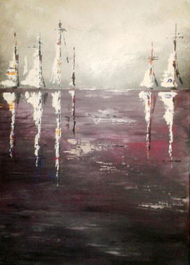 Galamos Rita Sailboats in the smoke Mixed media Acrylic on canvas  dekoration painting Feldkirch  Malerin Vorarlberg Ungarische Designerin  Hungarian Painting