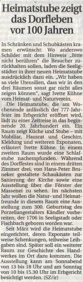 Bild: Seeligstadt Heimatstube Chronik 2005