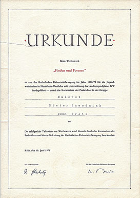 Urkunde - Köln 1970/71