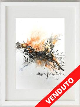 """""""Etna - omaggio alla mia Terra"""", 2020, China, acquerello e pastello, 20 x 30"""