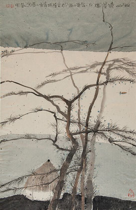 "Zhu Daoping, ""landscape"", ink on paper, 67 x 43 cm, 1998"