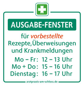 Info-Aufkleber für das Ausgabe-Fenster der Arztpraxis am Schloss (Kalletal).