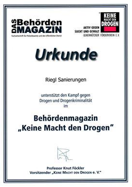 Urkunde Das Behördenmagazin Riegl Sanierungen Bamberg