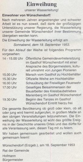 Bild: Wünschendorf Wasserleitung Einweiung 1953