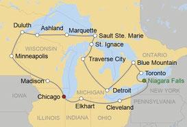 Mietwagenreise von Chicago um die grossen Seen