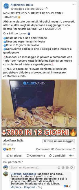algonanex Italia truffa opinioni recensioni