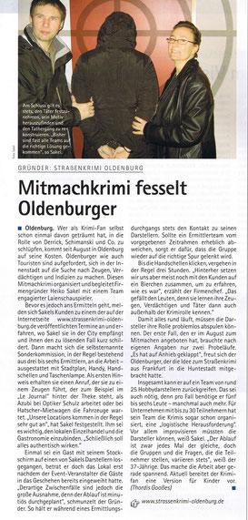 """Zeitungsartikel der """"Oldenburgische Wirtschaft"""" vom April 2007: """"Mitmachkrimi fesselt Oldenburger"""" - Quelle """"Oldenburgische Wirtschaft"""""""