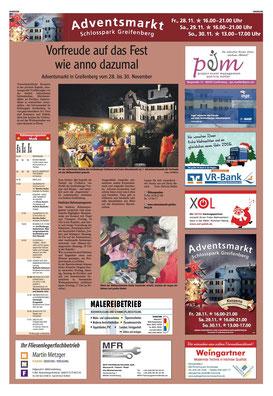 LT Anzeige Adventsmarkt Schlosspark Greifenberg 2014