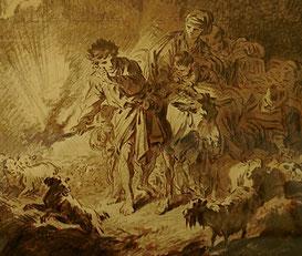 Jean-Baptiste Huet, Paysans voyageant la nuit avec leurs troupeaux. Détail. Encre et lavis de sépia sur papier Abbeville, Musée Boucher-de-Perthes © Bruno Jagerschmidt