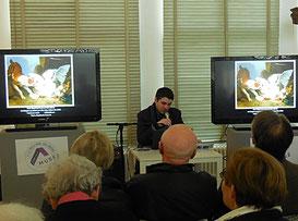 Benjamin Couilleaux présente l'oeuvre de J. B. Huet / Photo JH