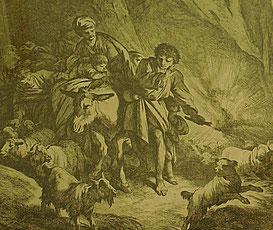Jean-Baptiste Huet, Paysans voyageant la nuit avec leurs troupeaux. Gravure, détail. Abbeville, Musée Boucher-de-Perthes /Photo JH
