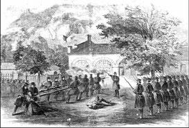 Les marines attaquant l'arsenal tenu par John Brown lors de son raid à Harper's Ferry, gravure publiée dans le Harper's Weekly en novembre 1859 / Wikipedia commons