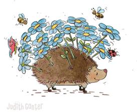Igel Blumenstrauß, Insekten, Schmetterling, Marienkäfer, Bienen, Frühstücksbrettchen Judith Ganter, bei Rannenberg und Friends