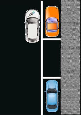 0.5m seitlicher Abstand, Hinterrad auf Stossstange von orangem Fahrzeug