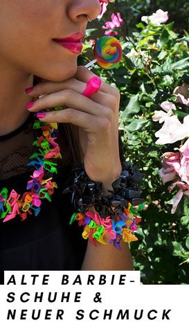 Sara Gallo macht Schmuck aus alten Barbie-Schuhen: Ketten, Armbänder, Ringe