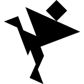 Tangram puzzle 263 : Gymnast - Visit http://www.tangram-channel.com/ to see the solution to this Tangram