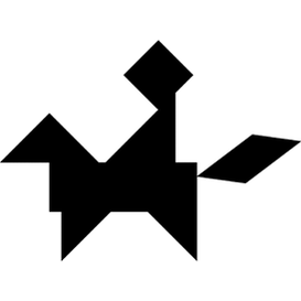 Tangram puzzle 161 : Horse rider - Visit http://www.tangram-channel.com/ to see the solution to this Tangram