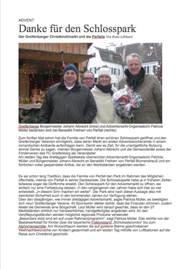 PR Artikel LT Adventsmarkt Schlosspark Greifenberg Dez. 2014