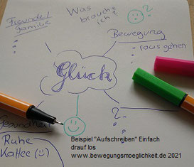 """Ein Photo von dem Ausschnitt einer Mindmap, mit dem Thema """"Glück"""", und drei Stiften."""