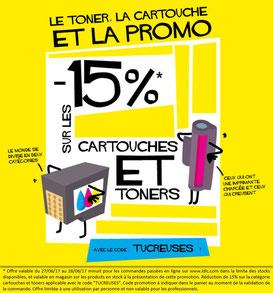 PROMO - 15% sur les cartouches et toners jusqu'au 28 juin 2017 ! Par ici :http://www.ldlc.com/assistant-consommables/c11/#523d712af1ceb